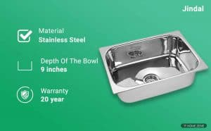 Jindal Kitchen Sink Stainless Steel Sink, 204 grade steel