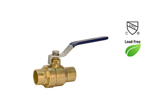 "1/2"" Sweat Solder C X C Brass Full Port Water Stop Shut Off Ball Valve,Heavy Duty Lead Free,for Copper Tubing,Quarter Turn (1-Pack)"