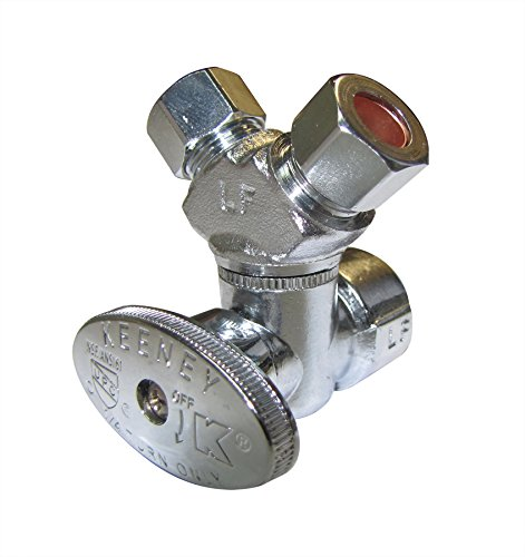 "Plumb Pak PP2901VLF 3-Way Stop Valve, 1/2 X 3/8 X 3/8 in, Fip X Compression, Chrome Plated, 1/2"" x 3/8"" x 3/8"","